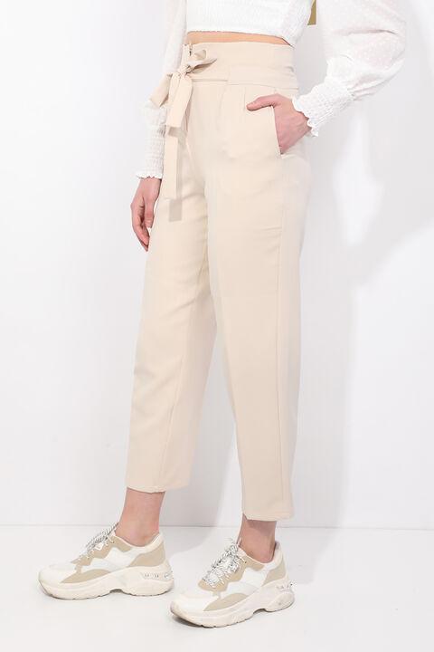 Women's Cream Belted High Waist Fabric Trousers