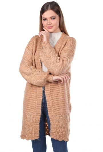 Women Cream Knitted Pattern Detailed Knitwear Cardigan - Thumbnail