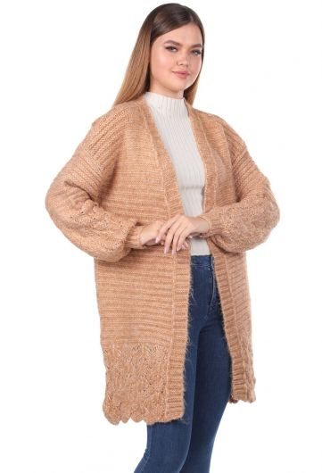 MARKAPIA WOMAN - Women Cream Knitted Pattern Detailed Knitwear Cardigan (1)