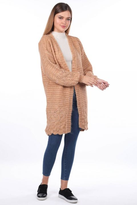 Women Cream Knitted Pattern Detailed Knitwear Cardigan