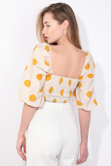 Women's Cream Polka Dot Balloon Sleeve Crop Blouse - Thumbnail