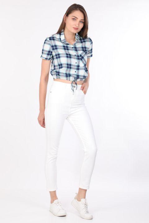 Women Crop Plaid Shirt Blue