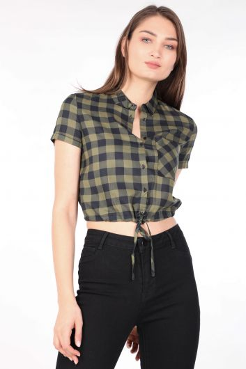 قميص نسائي قصير منقوش كاكي - Thumbnail