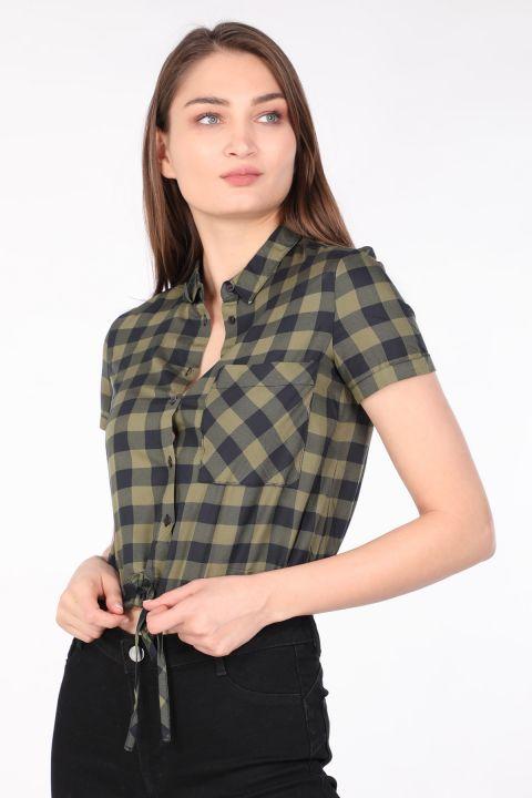 Женская Укороченная Клетчатая Рубашка Хаки