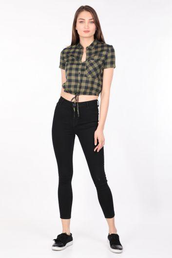 Женская Укороченная Клетчатая Рубашка Хаки - Thumbnail