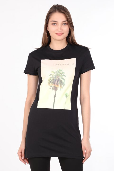 Women's Crew NeckPrinted Long T-shirt Black