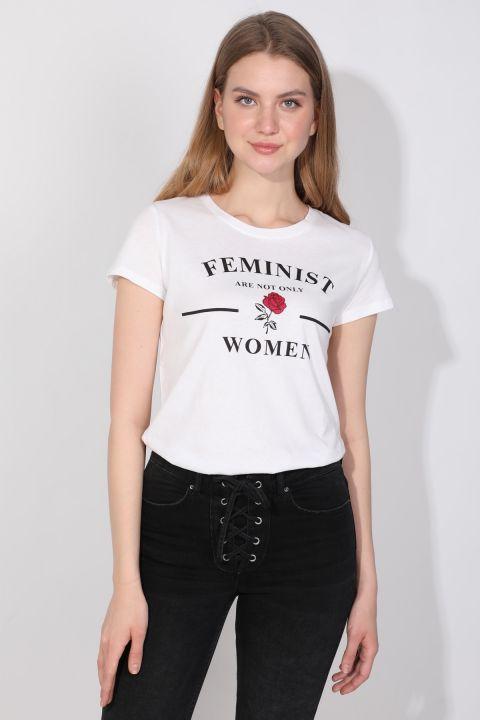 Women's Crew Neck Printed T-shirt White