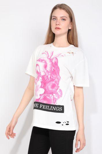 MARKAPIA WOMAN - Женская футболка с рваным вырезом и детальным принтом Белый (1)