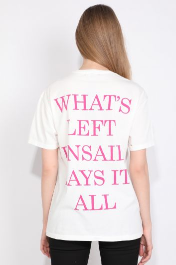 Women's Crew Neck Ripped Detailed Printed T-shirt White - Thumbnail