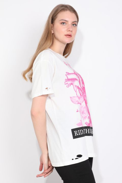 Women's Crew Neck Ripped Detailed Printed T-shirt White