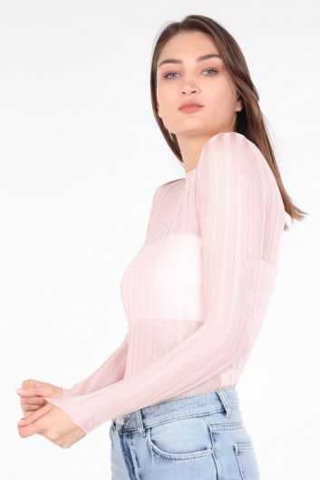 MARKAPIA WOMAN - سترة نسائية محبوكة بياقة دائرية رفيعة باللون الوردي (1)
