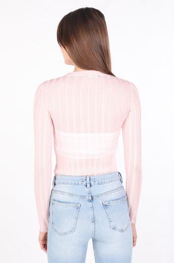 Женский тонкий трикотажный свитер с круглым вырезом пудрово-розовый - Thumbnail