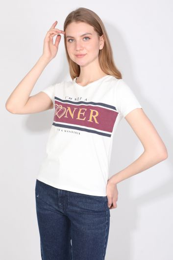 Women's Crew Neck Letter T-shirt White - Thumbnail