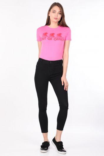 Женская футболка с круглым вырезом розовая - Thumbnail
