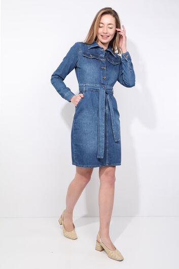 BLUE WHITE - Women's Dark Blue Belt Long Sleeve Jean Dress (1)
