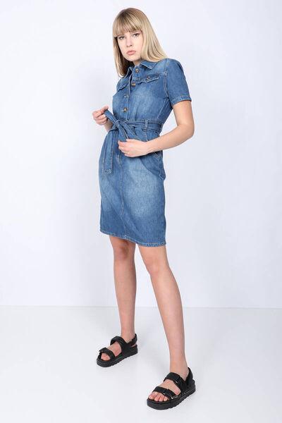 BLUE WHITE - Женское темно-синее джинсовое платье с короткими рукавами и поясом (1)