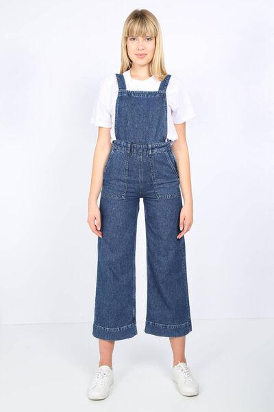 BLUE WHITE - Women's Dark Blue Big Pocket Jean Overalls (1)