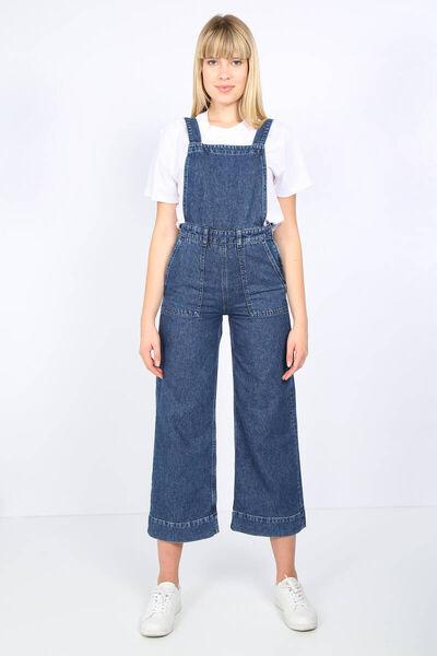 BLUE WHITE - Женский темно-синий джинсовый комбинезон с большим карманом (1)
