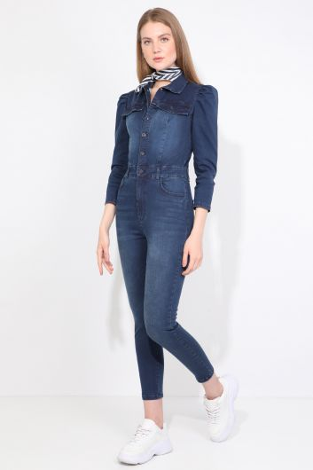 Banny Jeans - Women Dark Blue Buttoned Jean Jumpsuit Trousers (1)