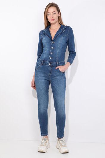 Женские темно-синие джинсовые брюки-комбинезон - Thumbnail