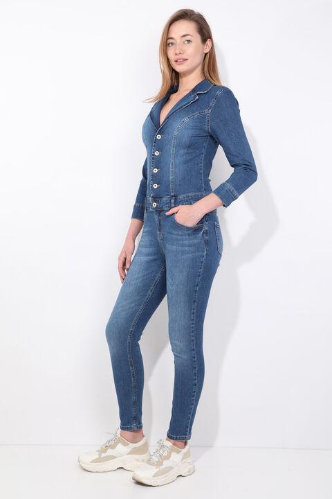 Женские темно-синие джинсовые брюки-комбинезон