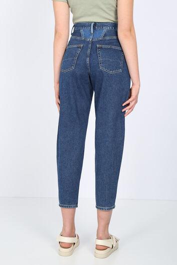 بنطلون جينز نسائي أزرق داكن مفصل الخصر - Thumbnail