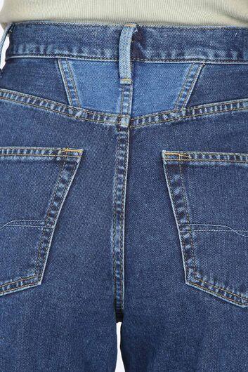 Women's Dark Blue Waist Detailed Mom Jean Trousers - Thumbnail
