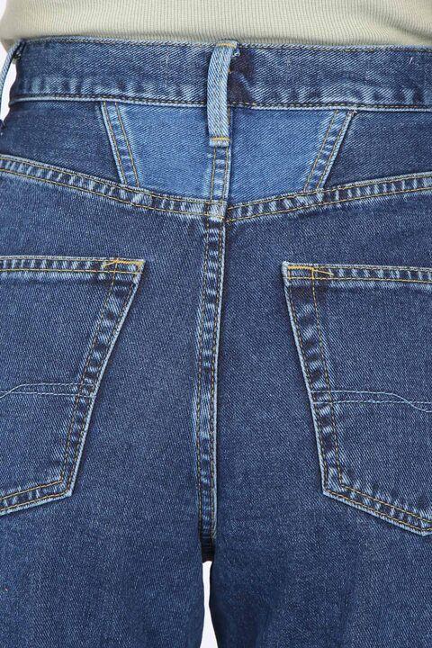 Women's Dark Blue Waist Detailed Mom Jean Trousers