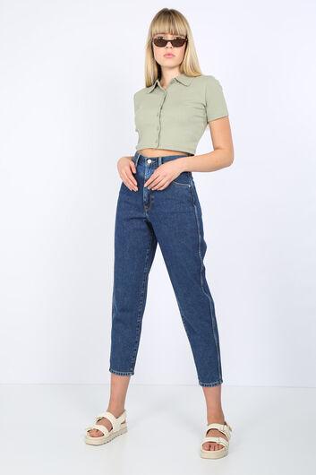 Женские темно-синие джинсовые брюки с детализированной талией - Thumbnail