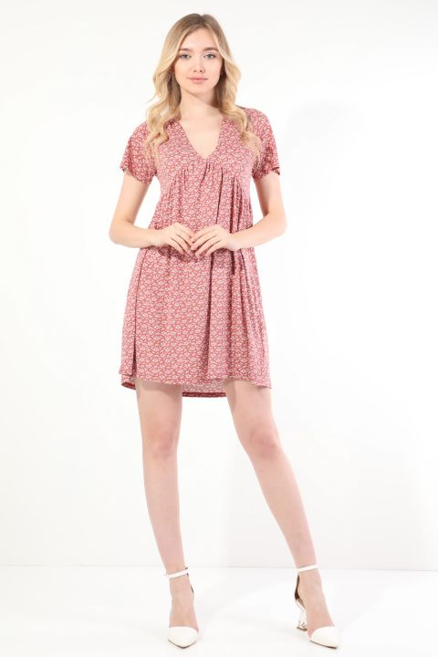 Women's Dried Rose V Neck Gathered Short Sleeve Dress