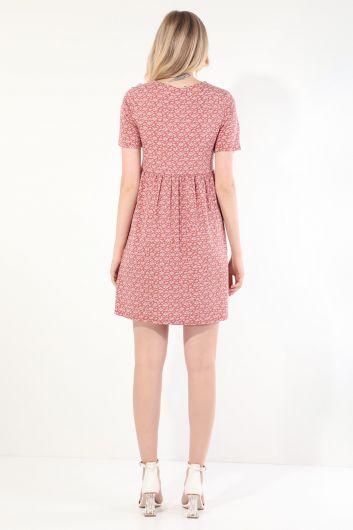 Women's Dried Rose V Neck Gathered Short Sleeve Dress - Thumbnail