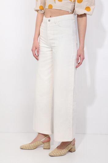 BLUE WHITE - بنطلون جينز نسائي Ecru واسع الساق (1)