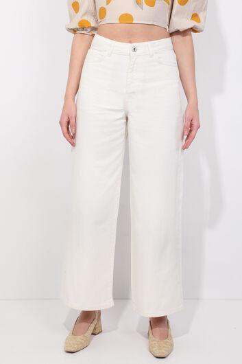 Женские джинсовые брюки с широкими штанинами цвета экрю - Thumbnail