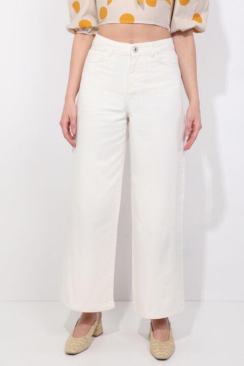 Женские джинсовые брюки с широкими штанинами цвета экрю