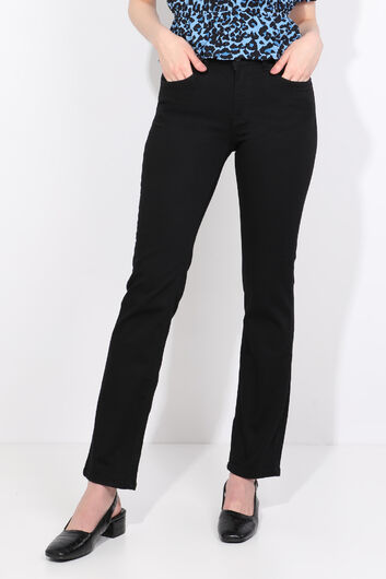 Women's Straight Leg Plus Size Jean Trousers Black - Thumbnail