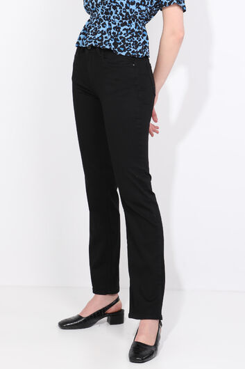 BLUE WHITE - Women's Straight Leg Plus Size Jean Trousers Black (1)