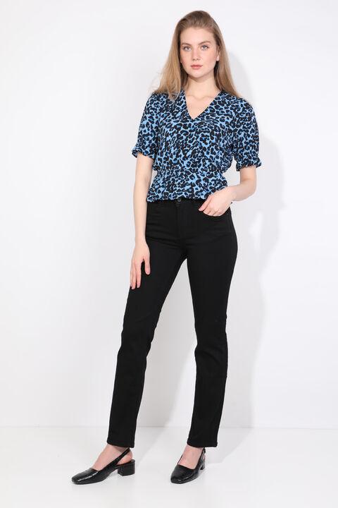 Женские прямые джинсовые брюки больших размеров, черные