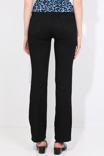 Женские прямые джинсовые брюки больших размеров, черные - Thumbnail