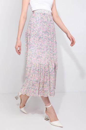 MARKAPIA WOMAN - Женская шифоновая юбка с цветочным принтом на присборенной подкладке (1)