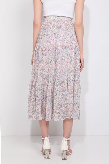 Женская шифоновая юбка с цветочным принтом на присборенной подкладке - Thumbnail