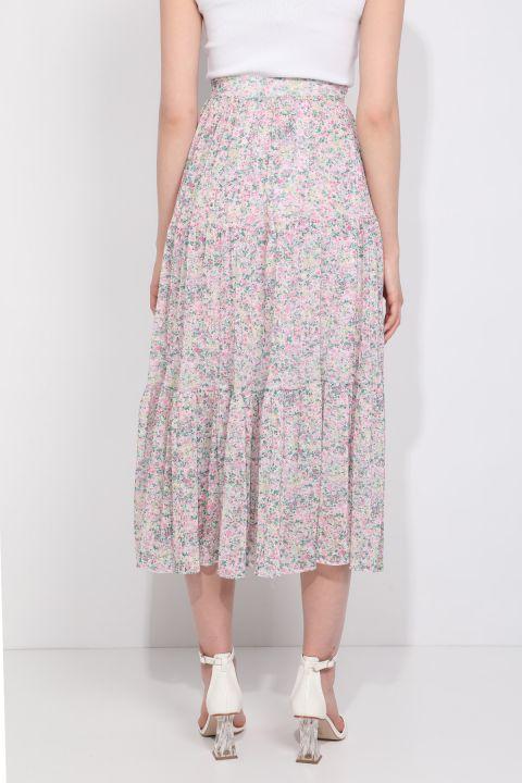 Женская шифоновая юбка с цветочным принтом на присборенной подкладке