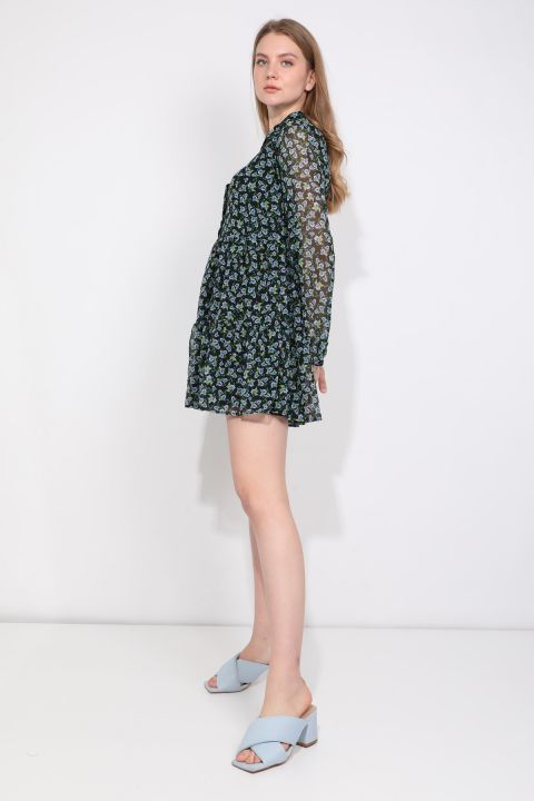Women's Floral Pattern Lined Chiffon Dress