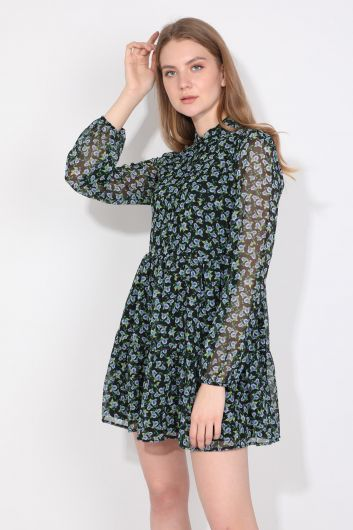 Women's Floral Pattern Lined Chiffon Dress - Thumbnail