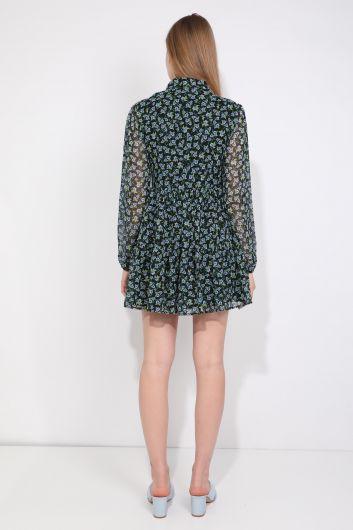 Женское шифоновое платье с цветочным узором на подкладке - Thumbnail