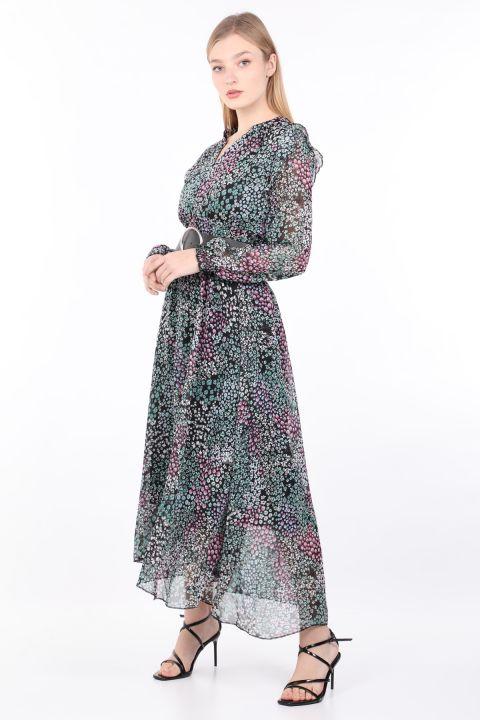 فستان شيفون بحزام مزين بنقشة الزهور للسيدات
