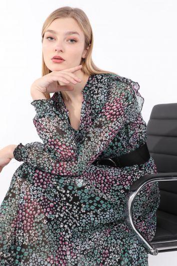 فستان شيفون بحزام مزين بنقشة الزهور للسيدات - Thumbnail