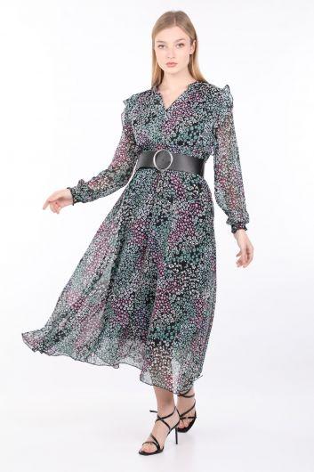Женское шифоновое платье с цветочным узором и поясом - Thumbnail