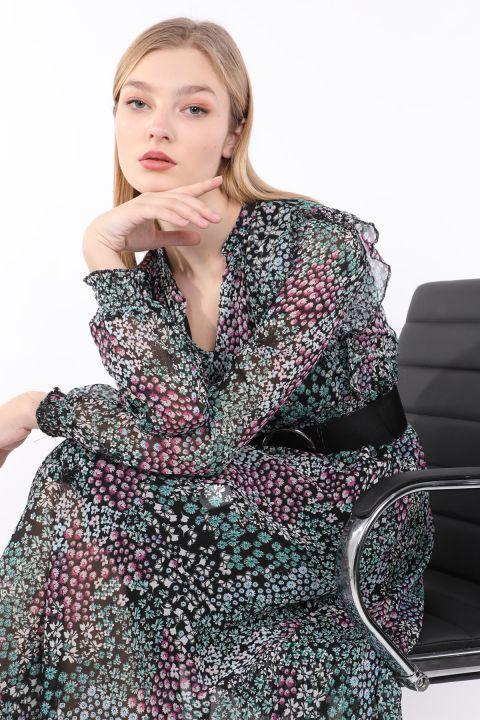 Женское шифоновое платье с цветочным узором и поясом