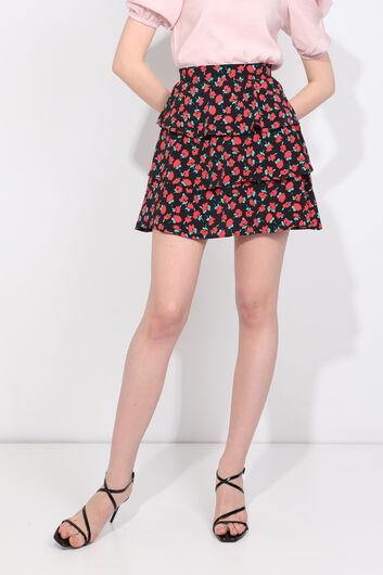 Женская многослойная юбка с цветочным принтом и оборками - Thumbnail