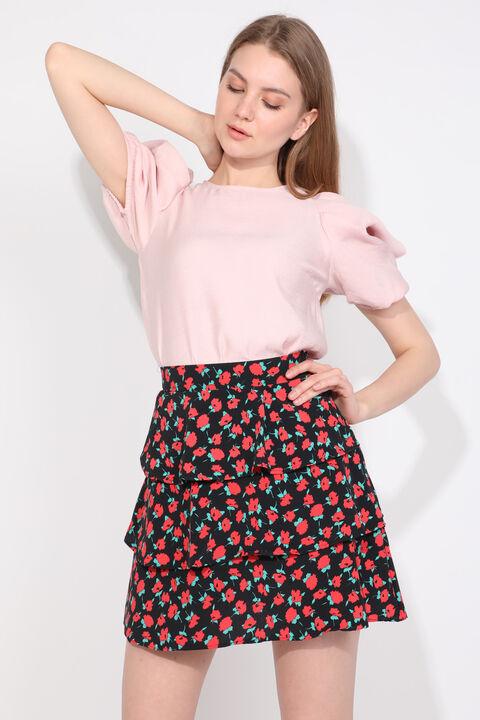 Женская многослойная юбка с цветочным принтом и оборками